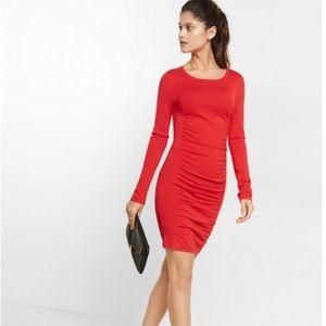 Express Red Ruched Sweater Dress Sz Medium